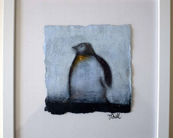 Penguin standing and looking thoughtful illustration and signed and framed in acrylic and pastel.