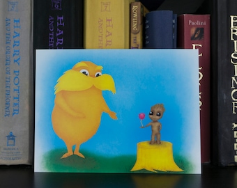 6 X 8 Print of Lorax and Baby Groot