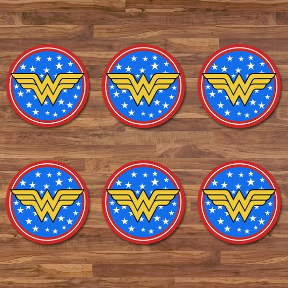 Wonder Woman Cupcake Toppers - Wonder Woman Stickers - Blue & Red Logo - Wonder Woman Birthday - Wonder Woman 2 inch Round Stickers