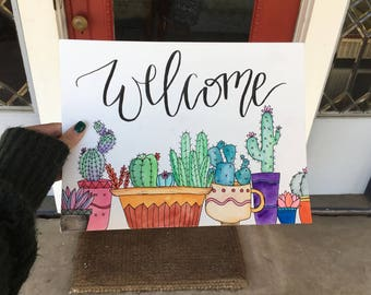 """Cactus """"Welcome"""" watercolor painting."""