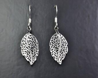 Nature Design Sterling Silver Earrings of Leaves