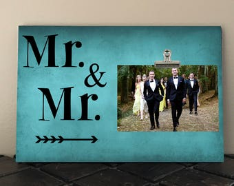 WEDDING Gift,  Personalized Free, Anniversary gift, Mr and Mr, Personalized photo frame, gay couple, gay wedding, unique wedding gift  mm01