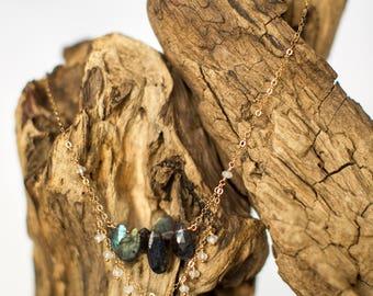 Labradorite and Moonstone Drop Necklace