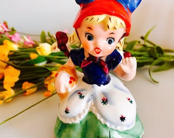 SOLD!!-Reserved for Mrs. T- Vintage Little Miss Muffett Nursery Rhyme Figurine Japan 1950's