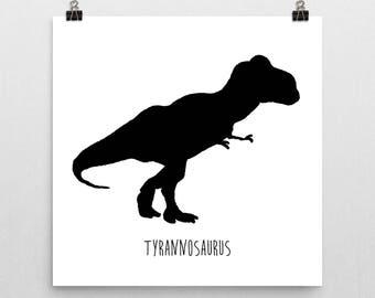 Dinosaur Nursery Print – Black and White Tyrannosaurus Rex