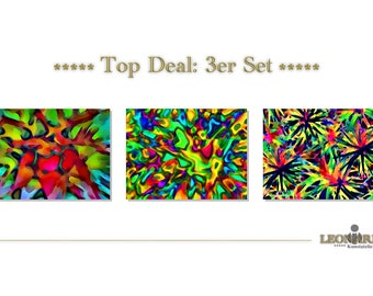 ABSTRACT ART - set of 3 - canvas - canvas - 106 abstract art abstract art - abstract painting - modern art - modern art