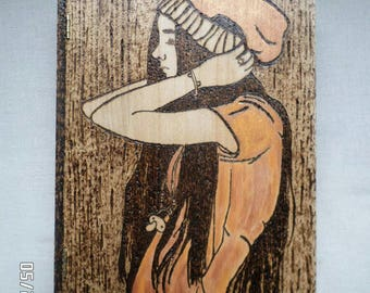 Wooden Box Girl In Slouchy Hat
