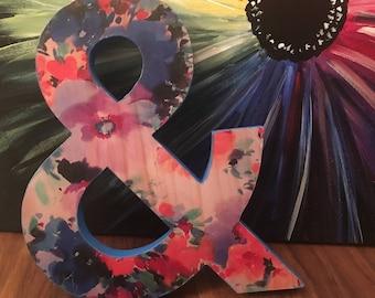Bright Floral Pattern Wooden & Symbol Ampersand