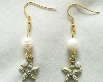 Gold Starfish Earrings with Real Freshwater Pearls