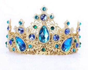 Royal blue crown, blue dolce crown, blue medieval crown, blue baroque crown, blue tiara, blue wedding accessories, blue gold crown, bride