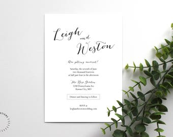 Modern Calligraphy Invitation Template, Customizable Calligraphy Wedding Invitation, Printable Minimal Wedding Invitation Template