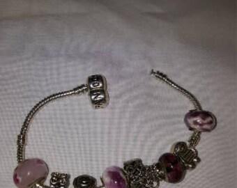 DreamscapesByCyn--OOAK Flirty Pink Euroean Style Bracelet