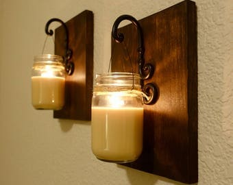 Wood Sconces with Soy Mason Jar Candles, Dark Stain and Black Metal Hooks, Set of 2