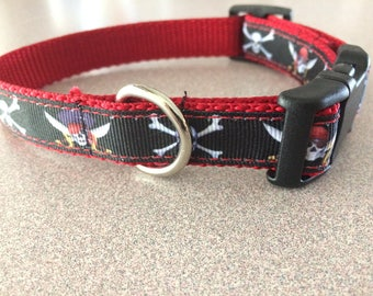 """Pirate skull and crossbones 3/4"""" wide dog collar"""