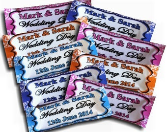 50 x Personalised Sweets Damask Wedding favours with colour to match your colour scheme