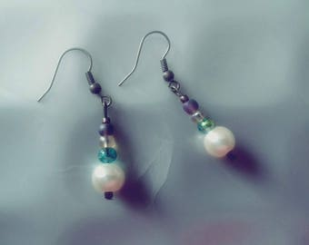 Blue and white earings