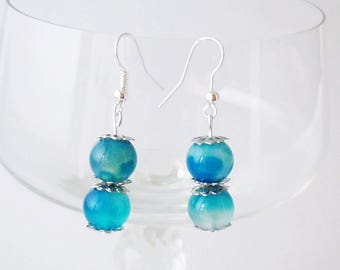 Agate earrings, hanging women's earrings, blue summer earrings, long earrings shining, Natural semi-precious stones earrings