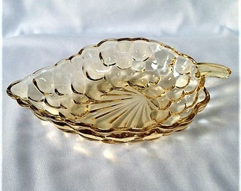 Vintage Yellow Leaf-shaped glass bowl