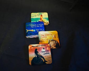 Mermaid coaster set. Dye Sublimation. made in the USA by Artesian
