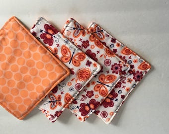 Fabric Coasters, Quilted Coasters, Drink Coasters, Cloth Coasters, Modern Coasters,Butterfly Coasters, Orange Peach Coasters