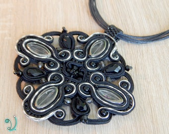 Big soutache pendant circle shape