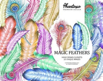 Watercolor Feathers Cliparts, Magic Feathers, Fairy Clipart, Fantasy Clipart, Feather Clipart Watercolor Clipart, Fairy Stickers