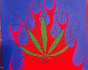 "Pot Leaf Painting -Wild - One of a kind - 16""x20"""