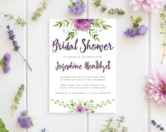 Printable Bridal Shower Invitation | Watercolour Floral Style | Bridal Shower Invitation | DIY Printable Invitation | Andalusia