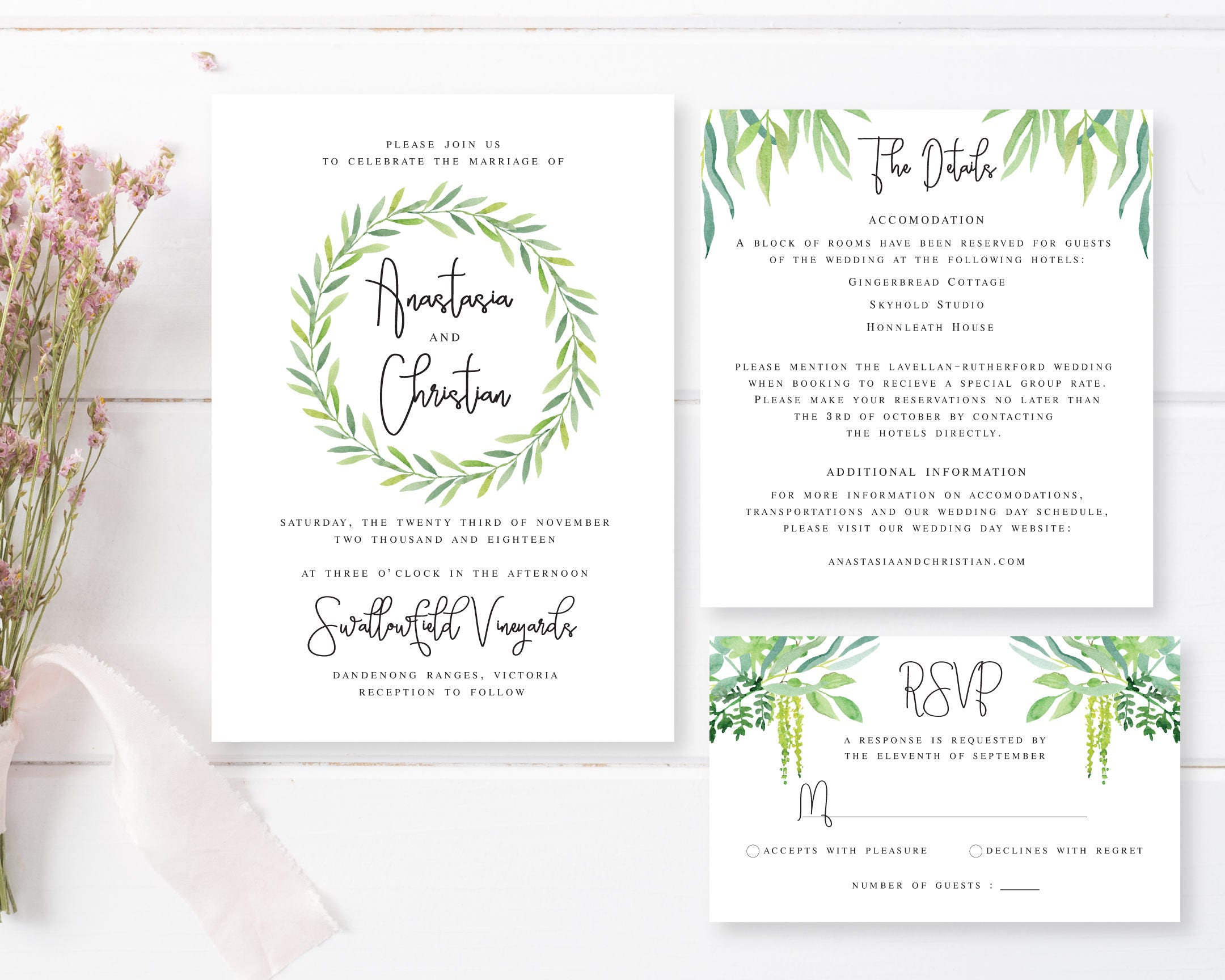 Printable Engagement Invitation | Watercolour Green Foliage | Spring ...