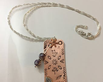 Copper hand stamped necklace