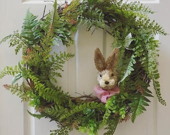 Greenery bunny wreath. Greenery wreath. Farmhouse wreath. Easter wreath. Spring wreath. Farmhouse style