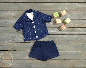 3-6 Month Boys Navy Blue Polka Dot Button Up Shirt and Shorts Set