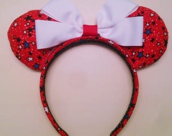 Red Stars Minnie Ears, 4th of July Minnie Ears, Custom Minnie Ears