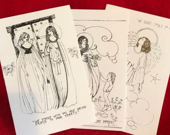 Color the angels cards, set of three, packet #4