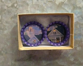 2 Purple San Francisco Bottlecap Magnets
