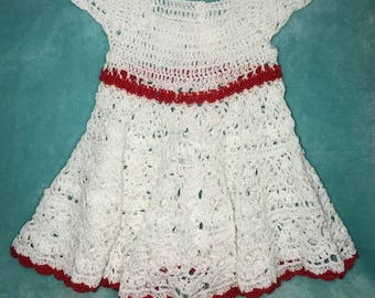 Baby Girl 9-12 Months White/Red Dress