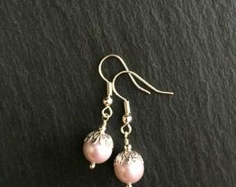 Pink Shell Pearl Earrings, Rose Pearl Earrings, Pearl Earrings, Bridesmaid Earrings