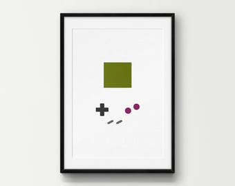 Minimal Game Boy Controller Wall Art, Classic, Retro, Gaming, DIY