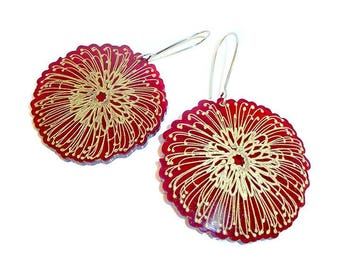 Pin Cushion Protea Earrings.