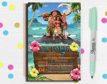 Moana Invitation , Disney Moana Invite , Moana Birthday Invitation, Disney Moana Birthday Party, Moana Birthday Invitation