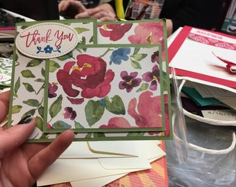 Homemade Floral special fold Thank You Card