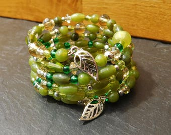 Green and Silver Wrap-around Bracelet