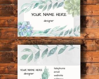 Printable business card, floral, watercolour design
