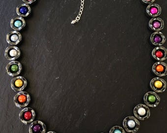 "15 1/2"" haematite and rainbow bead necklace with 2 1/2"" sterling silver extension chain"