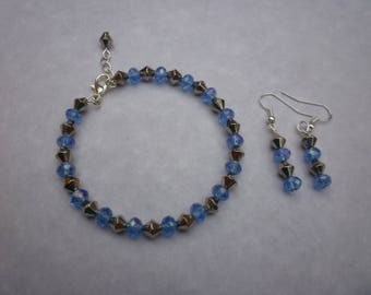 Beaded Bracelet and matching Earrings set