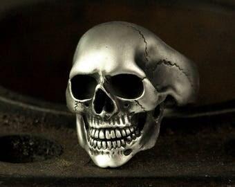 """""""Omega"""" - solid -.935 silver skull ring"""
