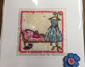 Hand Made Quilted Card Birthday Thank You Thinking Of You Vintage French Fashion