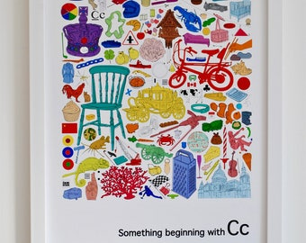 Personalised nursery wall art, Alphabet print, 'Something beginning with C' design