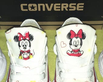 Minnie Mouse customised white converse