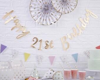 Gold Happy 21st Birthday Banner, 21st Birthday Bunting, 21st Birthday Party Decorations